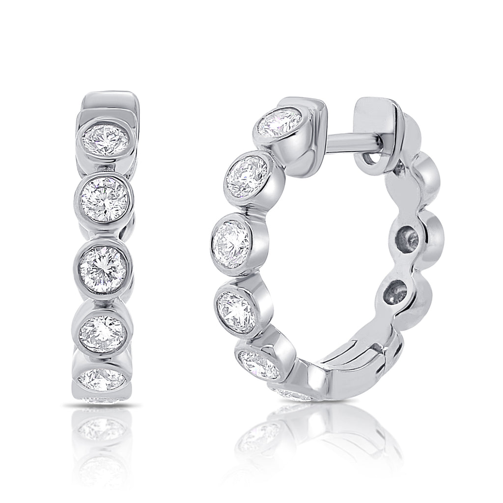 Diamond Bezel Hoop Earrings