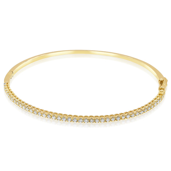 Yellow Gold Hinge Bangle With Diamonds