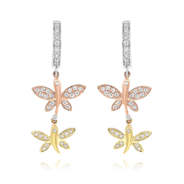 Butterfly Tri-Color Gold And Diamond Earrings