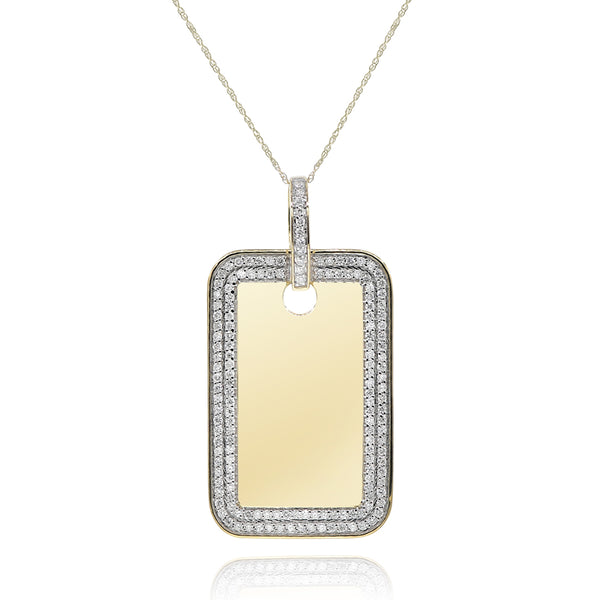 Yellow Gold Double Row Diamond Dogtag