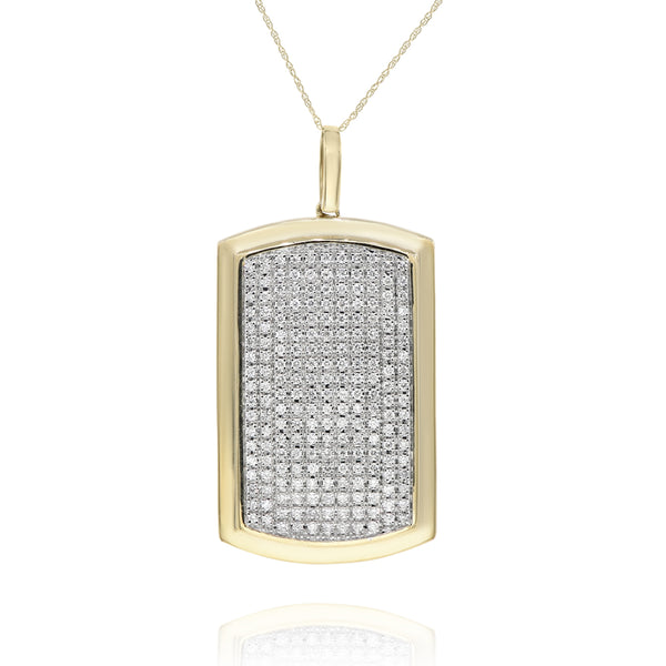 Pave Diamond Yellow Gold Dogtag