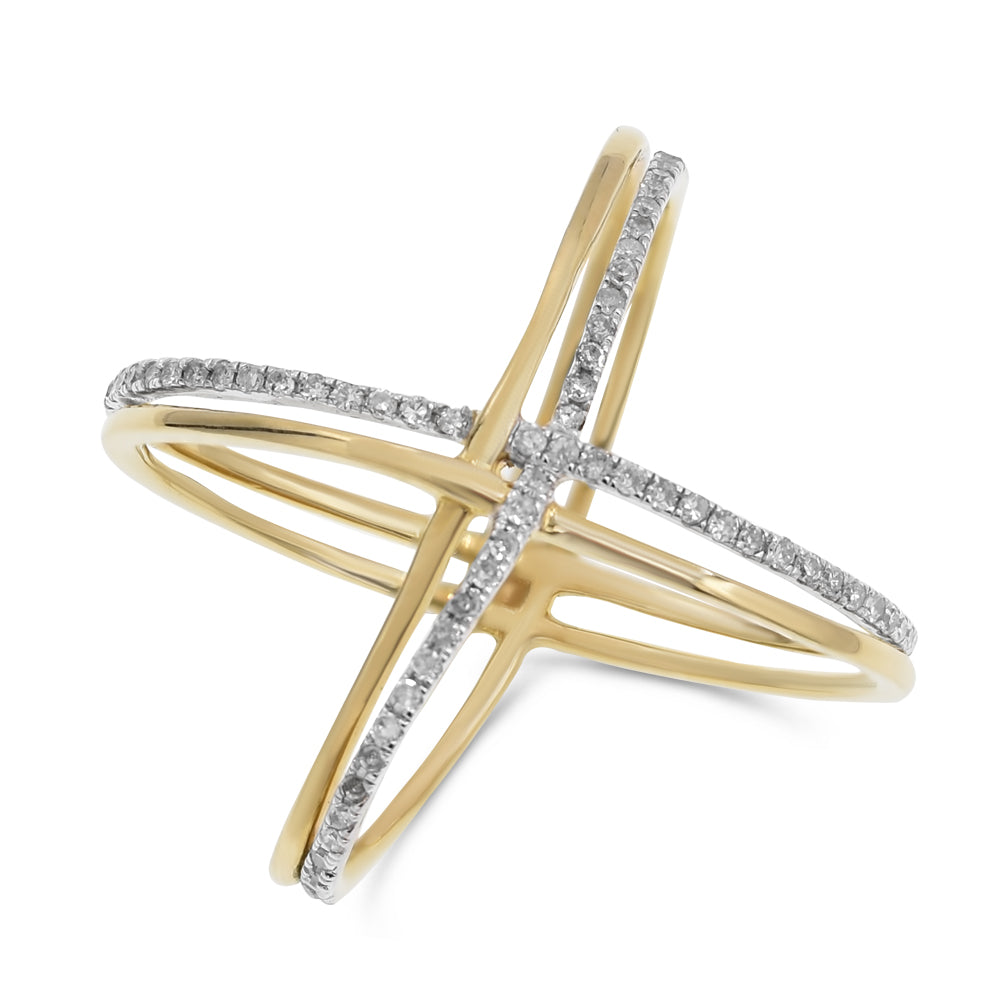 X Diamond & Yellow Gold  Double Row Ring