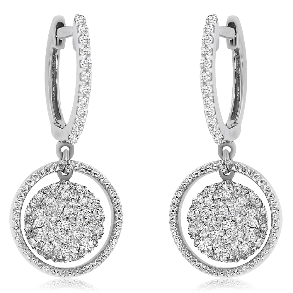 Pave Diamond Ball Halo Drop Earring
