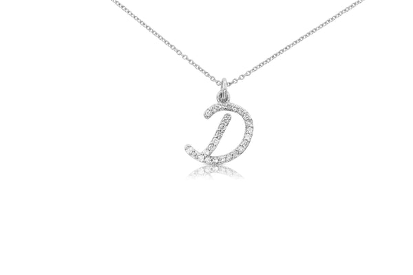 Small Script Initial Pendant Necklace with Diamonds