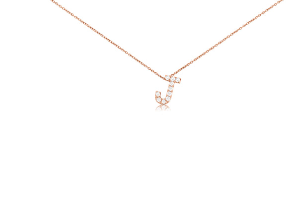 Small Block Initial Pendant Necklace with Diamonds