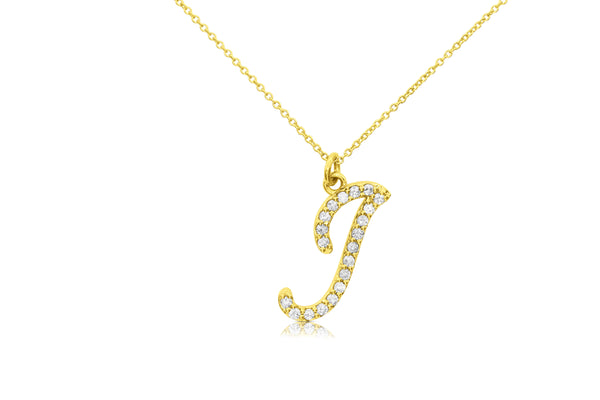 Large Script Diamond Initial Pendant Necklace