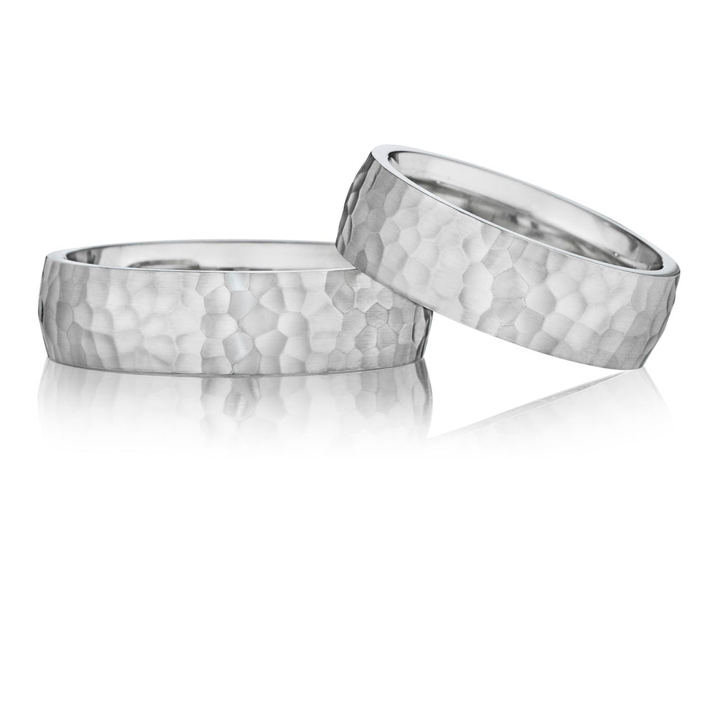 6mm Hammered Comfort Wedding Band Set