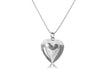 Heart Locket Pendant Necklace with Faceted Ball Chain