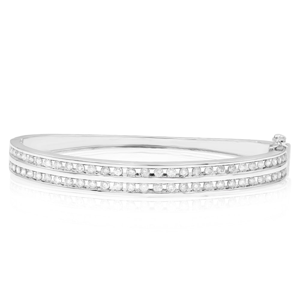 Double Row Diamond White Gold Bangle Bracelet