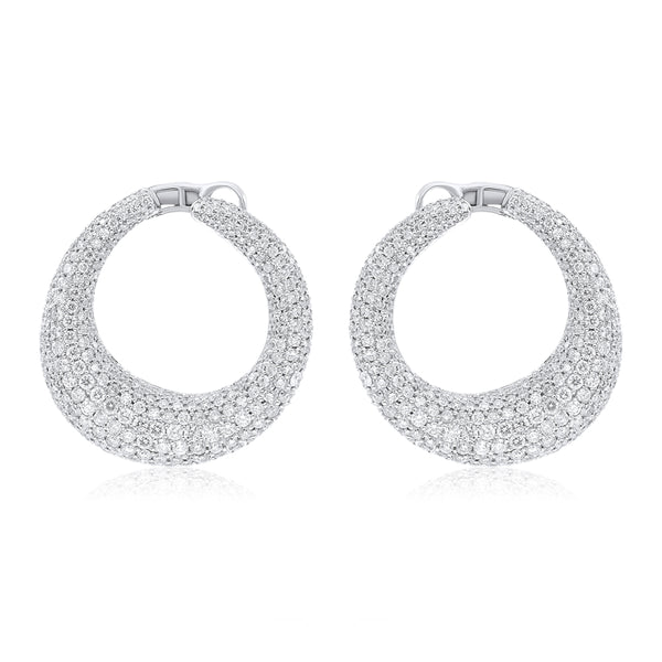 Pave Diamond Off Round  Hoops