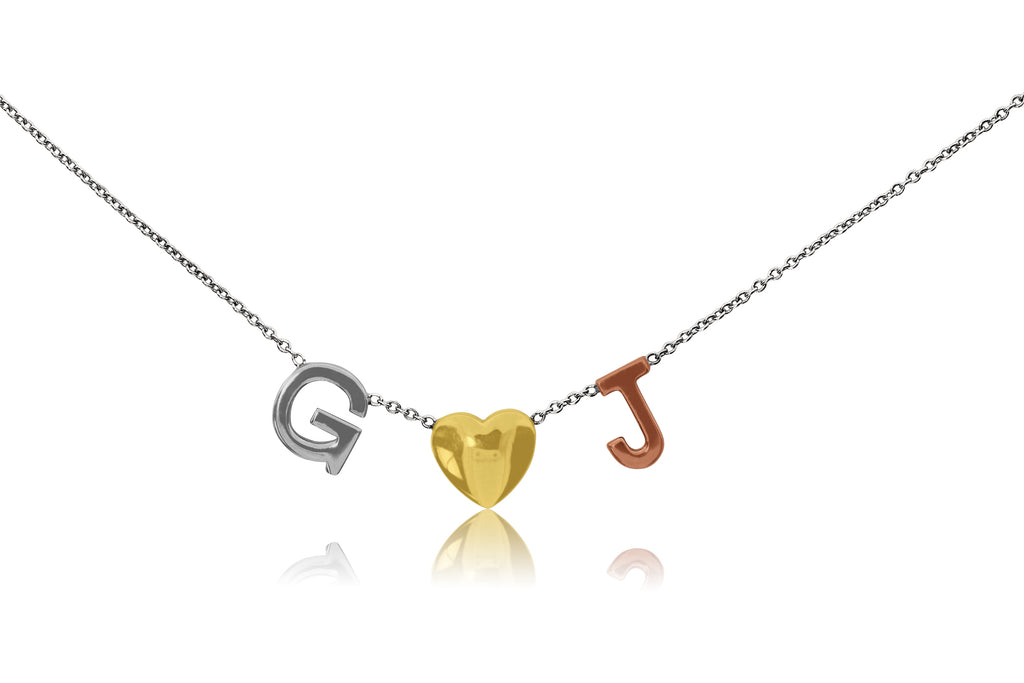 Block Initials Separated With Heart Necklace