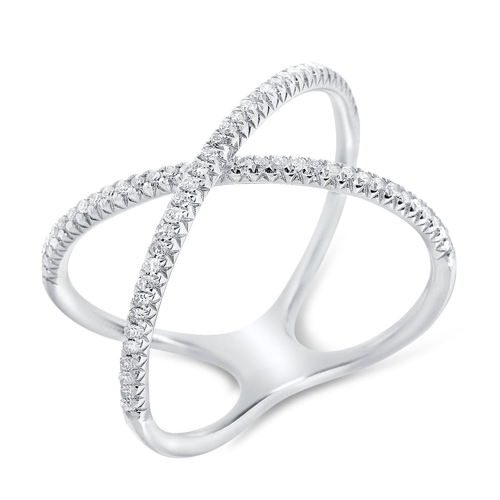 Pave Diamond X Ring