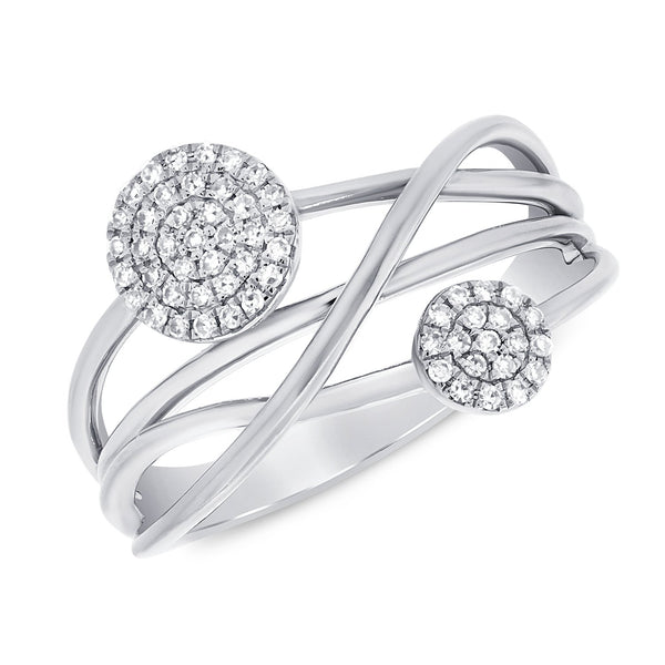 Pave Diamond Rounds On Squiggly Lines Ring