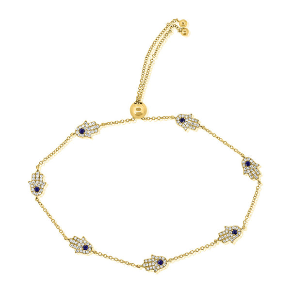 Seven Diamond And Sapphire Hamsa's On Pull Chain Bracelet