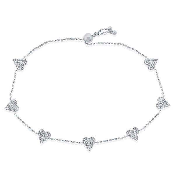 Seven Pave Diamond Hearts On Pull Chain Bracelet