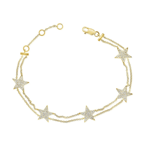 Five Pave Diamond Stars On Double Chain Bracelet