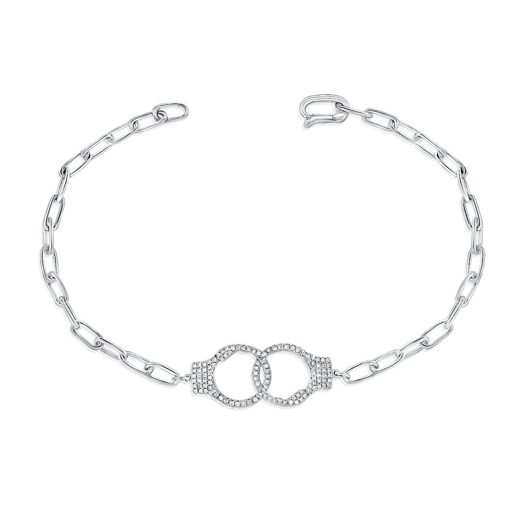 Pave Diamond Handcuffs Bracelet