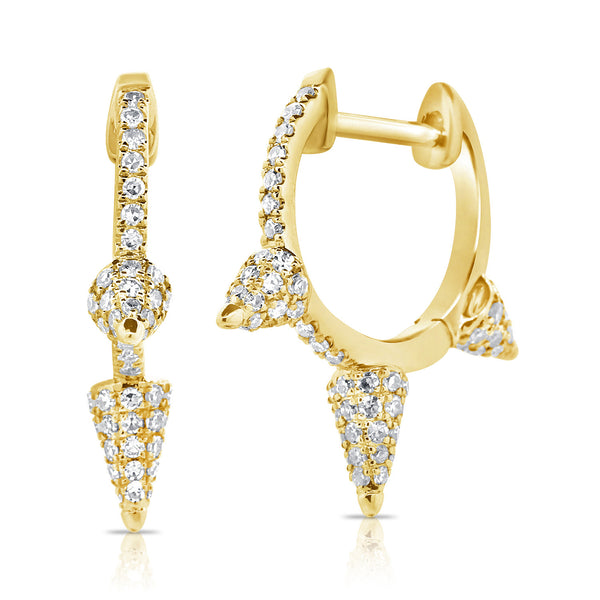 Pavé Diamond Stud Huggy Earrings