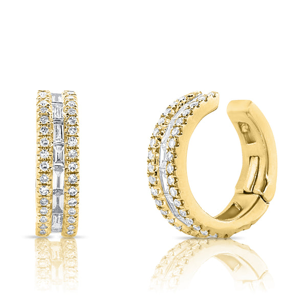 Baguette And Round Diamond Ear Cuff