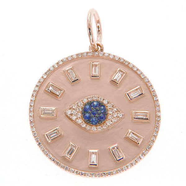 Evil Eye Disc With Baguette Diamonds Pendant