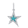 Turquoise Star With Diamond Outline Pendant