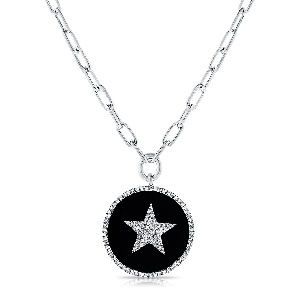 Onyx And Diamond Star Pendant Necklace