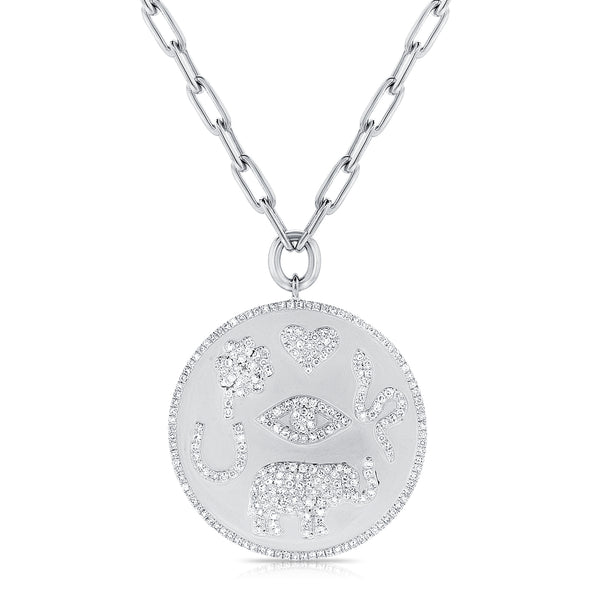 Lucky Charm Disc Pendant With Chain
