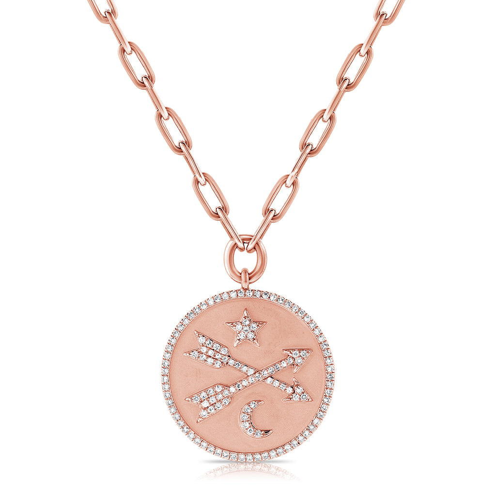 Star/Moon/Arrows Disc Pendant With Chain