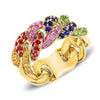 Colored Stone Pave Chain Link Ring-Small