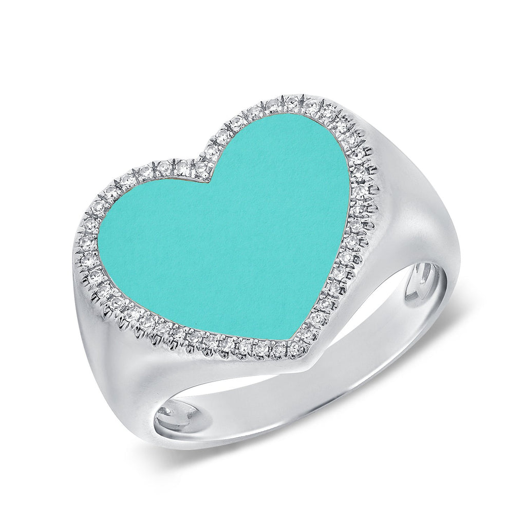 Turquoise Heart With Row Of Diamonds Ring