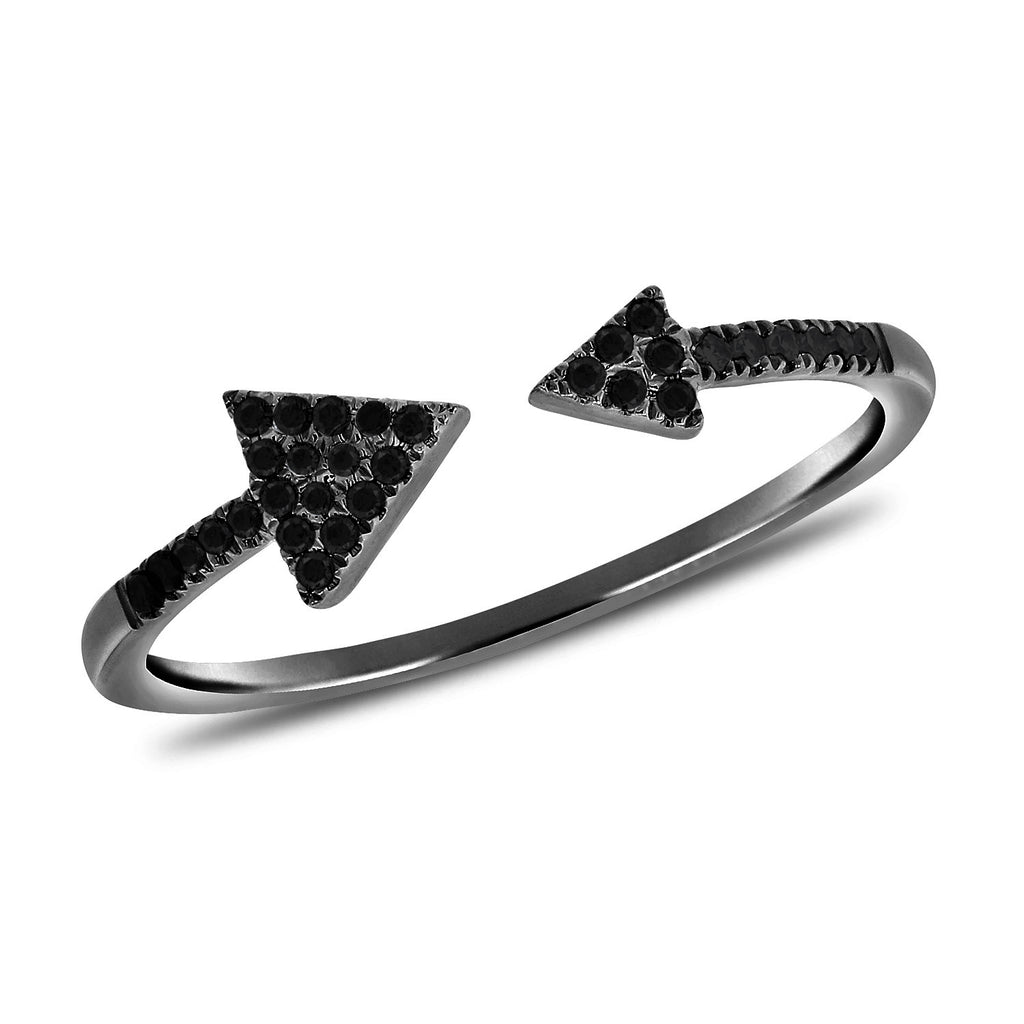 Double Diamond Arrow Ring With Black Diamonds