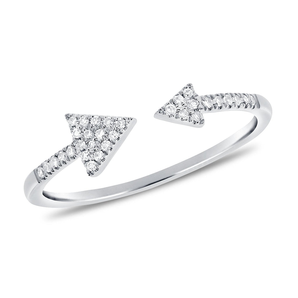 Double Diamond Arrow Ring With White Diamonds