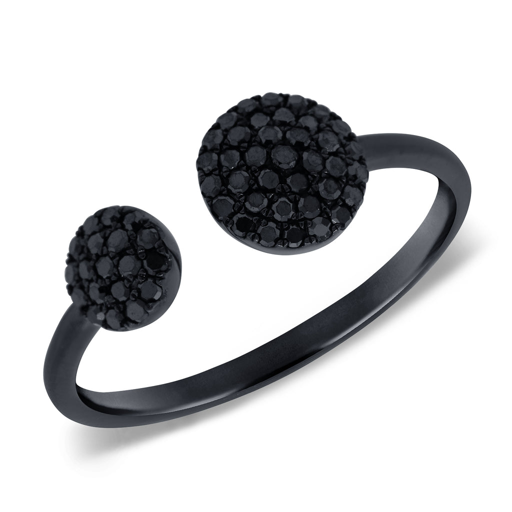 Black Diamond Pave Two Sphere Ring