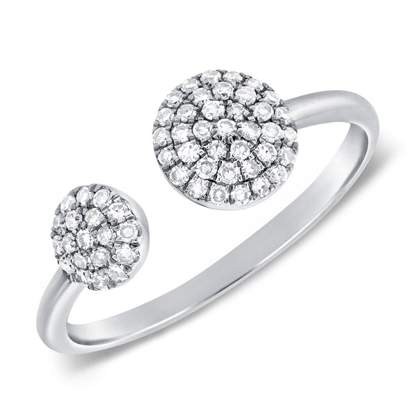White Diamond Pave Two Sphere Ring