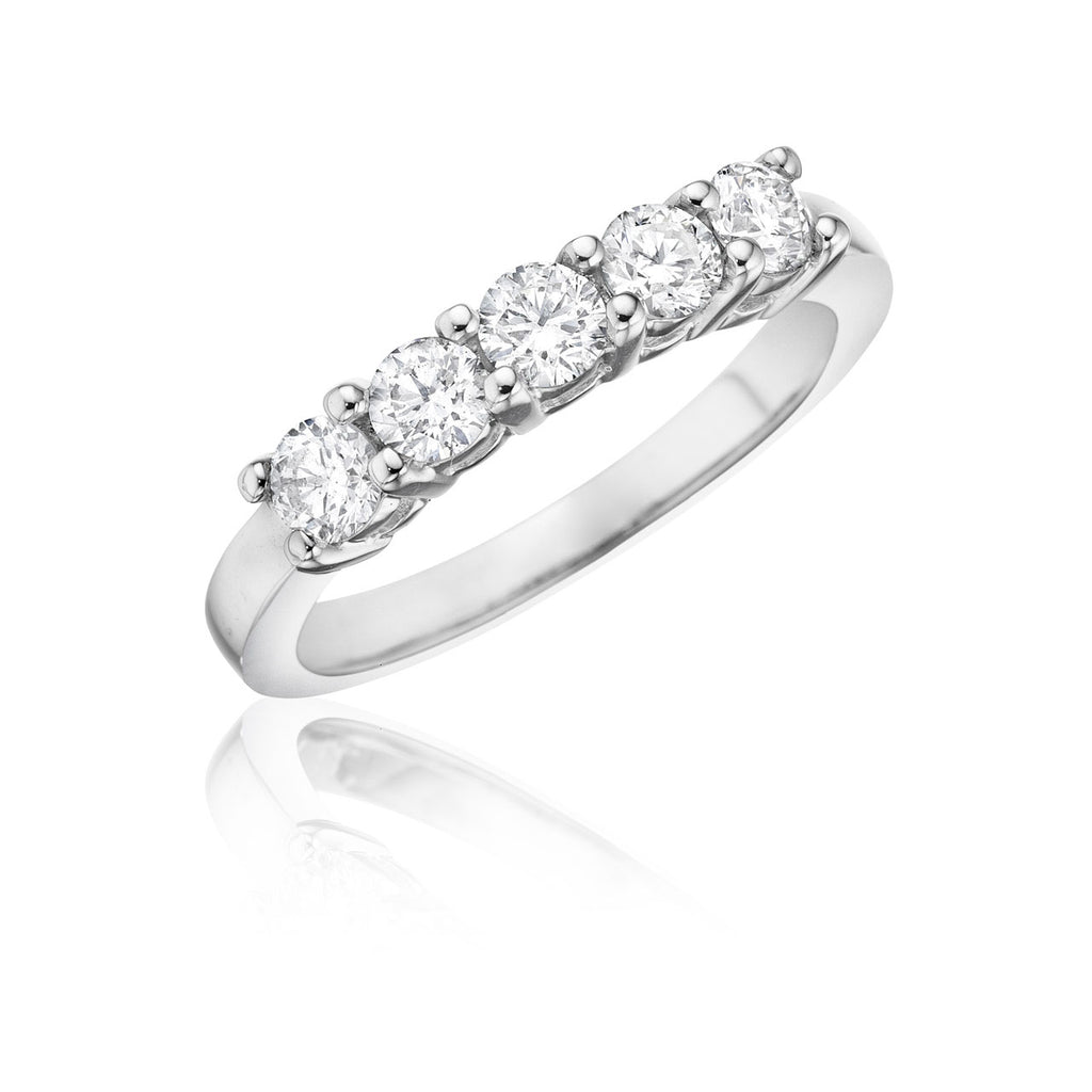 5 Stone Shared Prong Diamond Wedding Band with Gallery