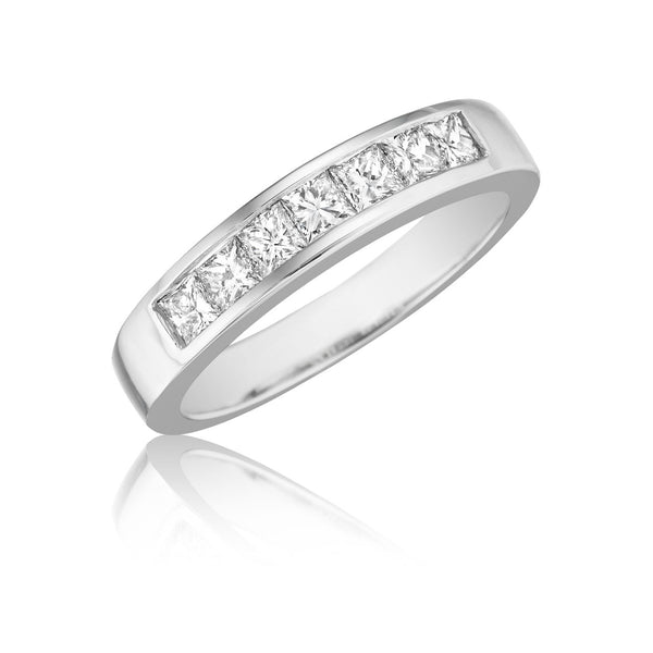 7 Stone Channel Set Princess Wedding Band