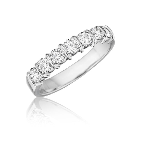 7 Stone Bar Channel Set Diamond Wedding Band