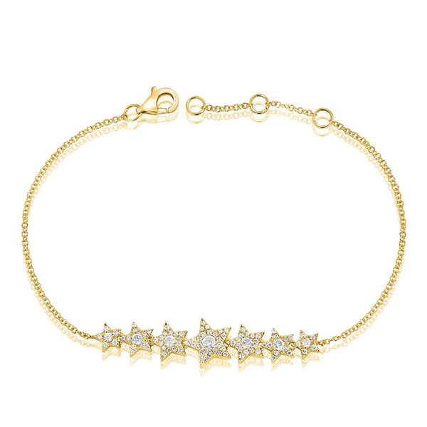 Adjustable Seven Pave Diamond Star Bracelet