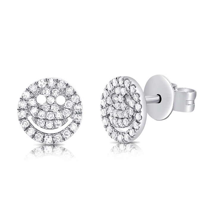 Pave Diamond Smile Studs