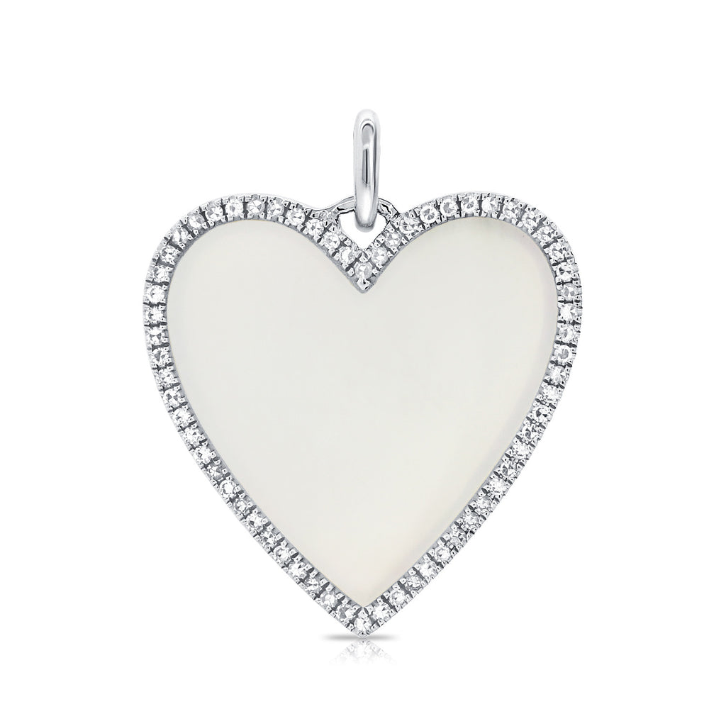 Mother Of Pearl Heart With Diamond Outline Pendant