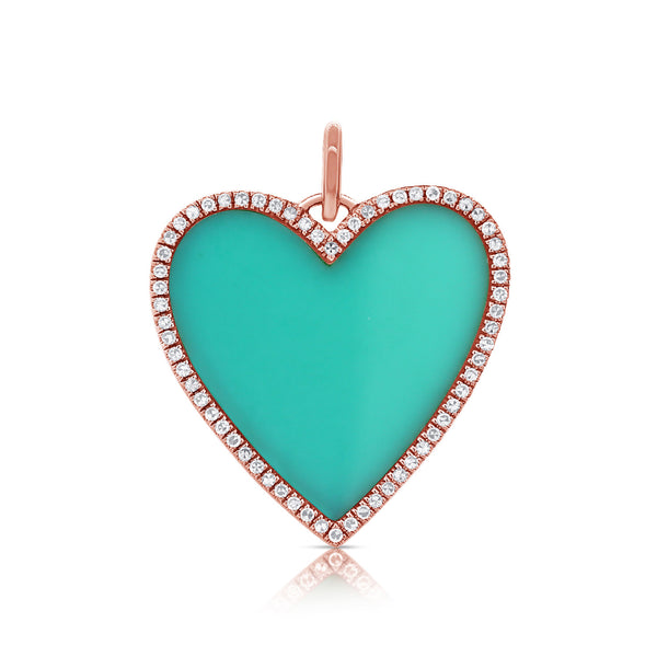 Turquoise Heart With Diamond Outline Pendant