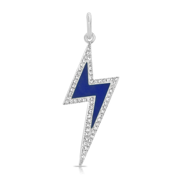 Lapis Lightning Bolt With Diamond Outline Pendant
