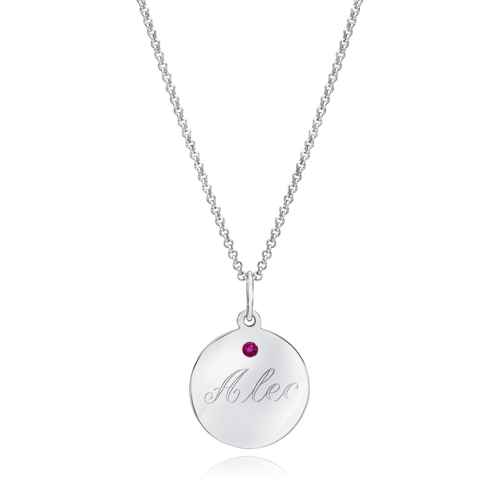 Personalized Disc Necklace with Colored Stone