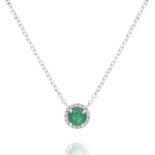 Emerald Round Stone With Diamond Halo
