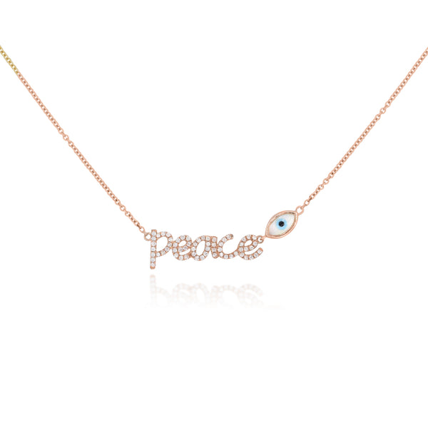 Pave Diamond Peace with Bezel Set Evil Eye