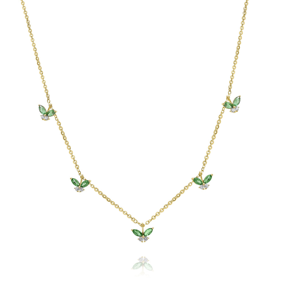 Emerald Hanging Butterfly Necklace