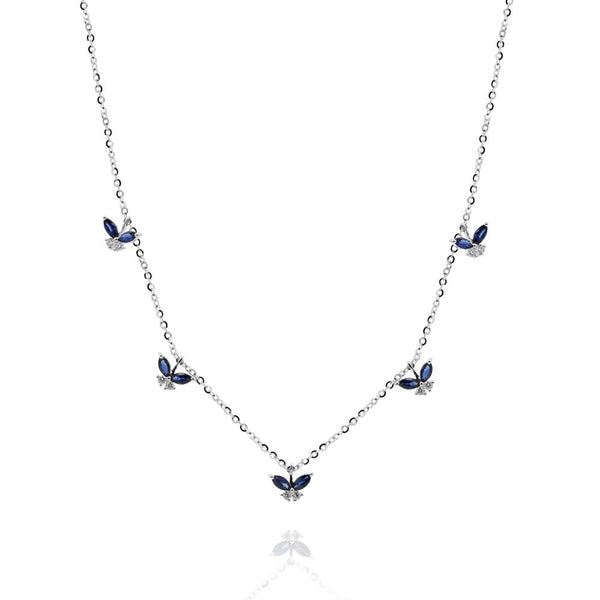 Sapphire Hanging Butterfly Necklace