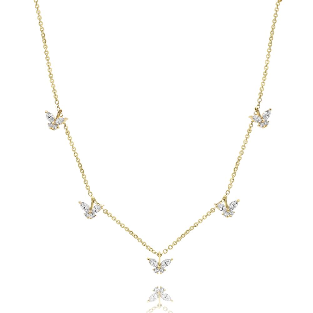 Diamond Hanging Butterfly Necklace