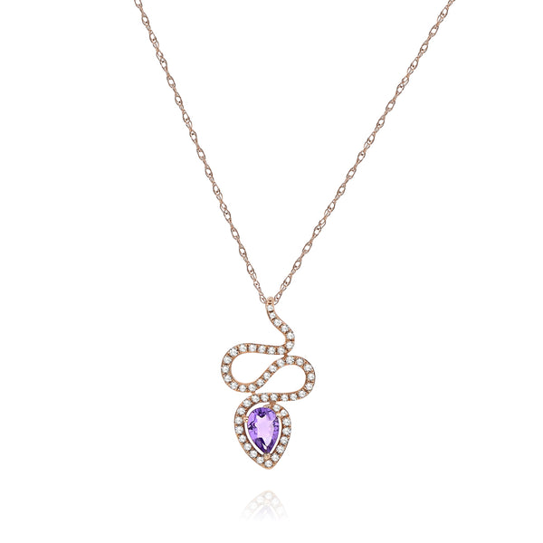 Oval Amethyst And Diamond Snake