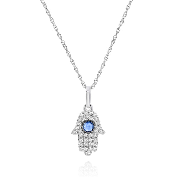 White Pave Diamond Hamsa With Round Sapphire Center